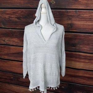 Loft Lounge XL knit Top hooded Fringe Tassel TOP